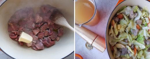 Ruskista liha öljyssä ja voissa uuninkestävässä padassa. Lisää juurekset ja sipulit, kuullota hetki. Lisää omenat, kaali ja omenasiideri.