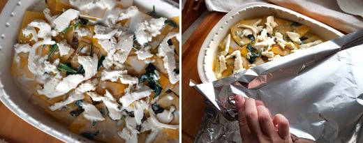 Peitä lasagne foliolla