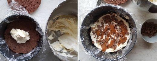 Täytä suklaa-appelsiinikakku voikreemillä, suklaata ja kinuskia