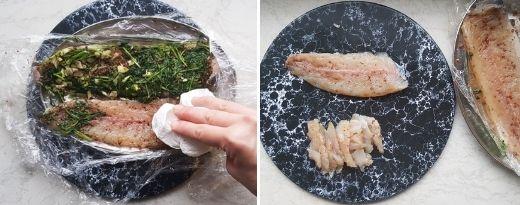 Kun graavisiika on graavautunut, poista mauste- ja tillifenkoliseos ja viipaloi kala.